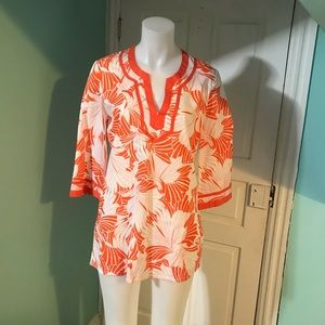 NWT J. Crew Orange & White Tunic SzM